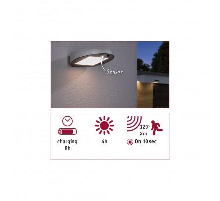 Sieninis šviestuvas su judesio davikliu ir saulės baterija