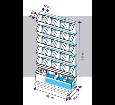 Vertikalaus daržo su laistymo sistema išmatavimai