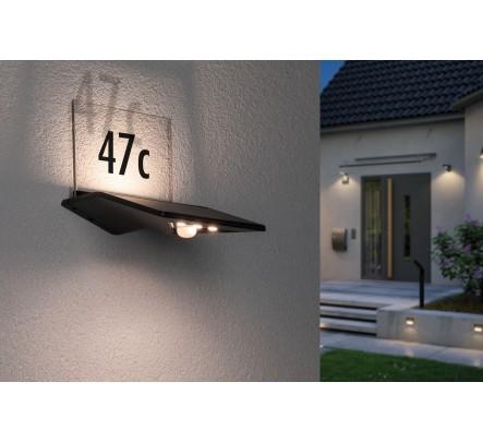 Namo numerio šviestuvas su judesio davikliu ir saulės baterija