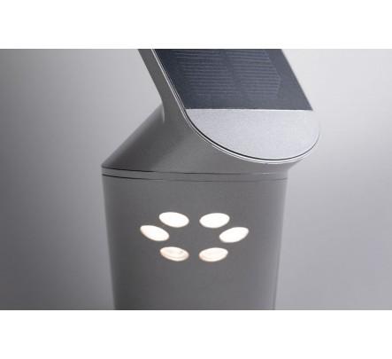 Šviestuvas su judesio davikliu ir saulės baterija pilkos spalvos
