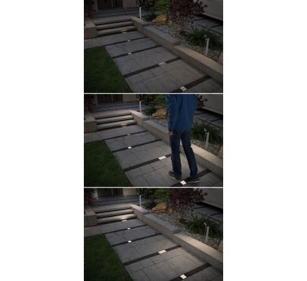 Šviestuvas su judesio davikliu ir saulės baterija