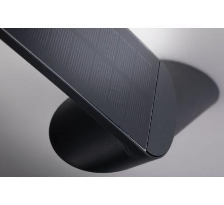 Šviestuvas su judesio davikliu ir saulės baterija juodos spalvos