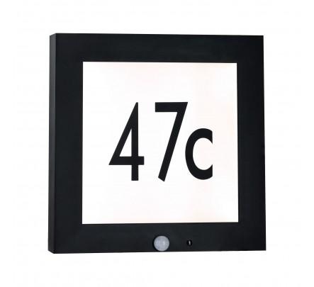 Lauko šviestuvas-namo numeris su judesio davikliu
