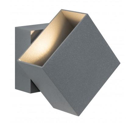 Stačiakampio formos sieninis lauko šviestuvas pilkos spalvos